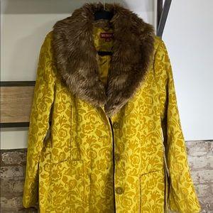 Large Merona Coat With Detachable Fur Collar
